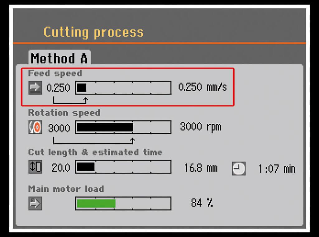 Secotom intelligent feed control