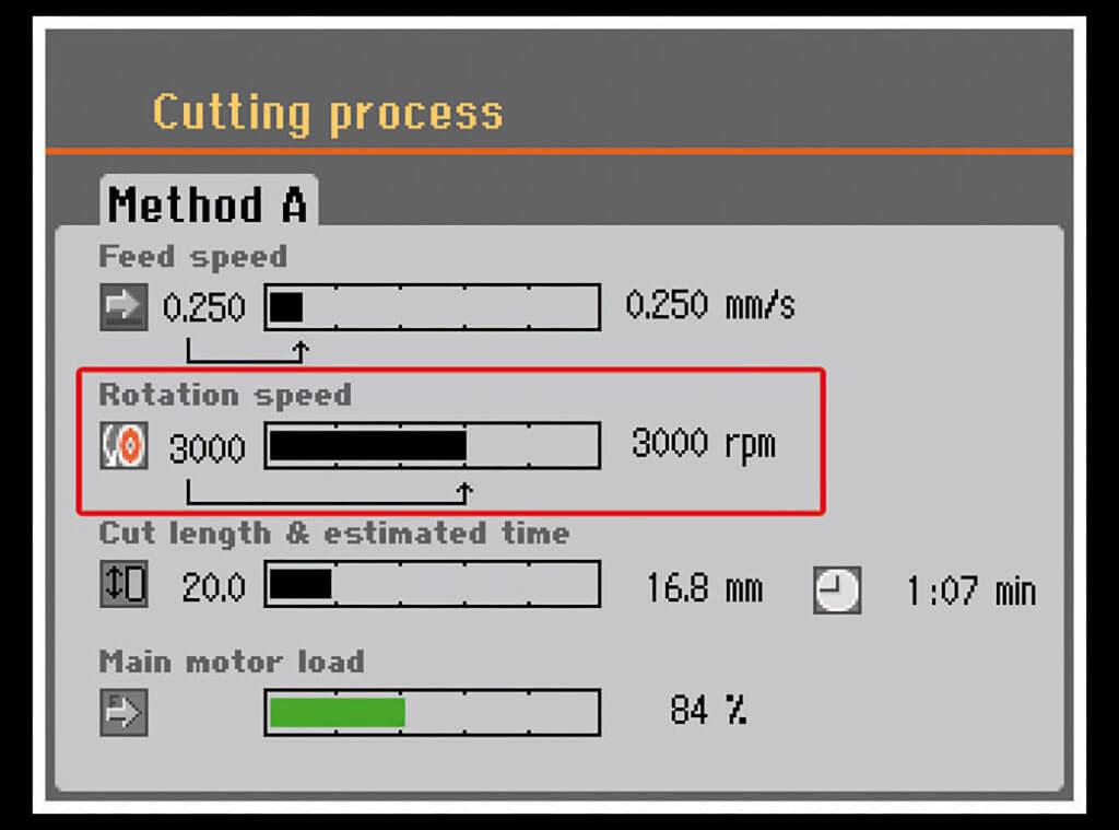 Secotom 可变的切割轮速度