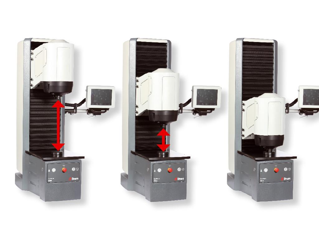 デュラビジョンの電動式テストヘッドと固定テストアンビル