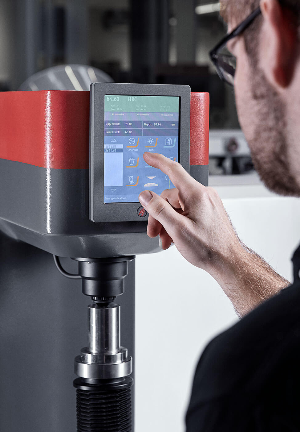 Lab finger on screen closeup High efficiency and productivity